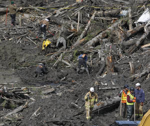 Photo - Workers and volunteers search for articles and belongings at the scene of the deadly March 22 mudslide, Monday, March 31, 2014, in Oso, Wash. The number of confirmed dead has reached 24. More than two dozen people remain missing, authorities have said. (AP Photo/The Herald, Sofia Jaramillo, Pool)