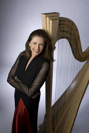 Photo - Harpist Yolanda Kondonassis. Photo by Mark Battrell. <strong></strong>