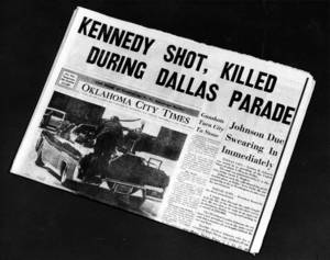 Photo - PRESIDENT JOHN F. KENNEDY ASSASSINATION: Front page of the Friday, 11/22/63 Blue Streak edition of the Oklahoma City Times. Staff photo by Jim Beckel taken 11/21/83; photo ran in the 11/22/83 Oklahoma City Times.