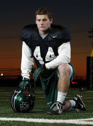 Photo - Norman North high school football player Jaxon Uhles on Tuesday, Nov. 27, 2012 in Norman, Okla.  Photo by Steve Sisney
