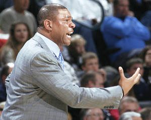 Photo - Boston coach Doc Rivers reacts to a call during his team's 105-87 win over the Oklahoma City Thunder at the Ford Center on Friday.  PHOTO BY NATE BILLINGS, THE OKLAHOMAN