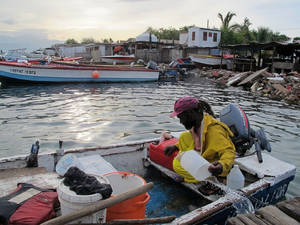 Photo -   Fisherman Daniel Edwards bails his small wooden skiff out in Port Royal, a fishing village just outside of Kingston, Jamaica, Sunday Aug. 5, 2012. Tropical Storm Ernesto is pushing for a brush with Jamaica on Sunday. (AP photo/David McFadden)