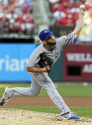 Photo - Kansas City Royals starting pitcher Danny Duffy (41) delivers against the St. Louis Cardinals in the first inning of a baseball game, Monday, June 2, 2014, in St. Louis.(AP Photo/Tom Gannam)