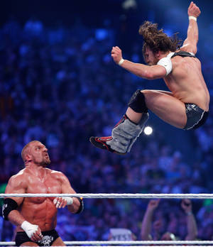 Photo - Daniel Bryan, right, and Triple-H wrestle during Wrestlemania XXX at the Mercedes-Benz Super Dome in New Orleans on Sunday, April 6, 2014. (Jonathan Bachman/AP Images for WWE)