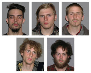 Photo -   Photos provided by the FBI show five men arrested Monday, April 30, 2012, and accused of plotting to blow up a bridge near Cleveland, Ohio, the FBI announced Tuesday, May 1, 2012. Top row, from left, are Douglas Wright, Brandon Baxter and Anthony Hayne. Bottom row, from left, are Joshua Stafford and Connor Stevens. There was no danger to the public because the explosives were inoperable and were controlled by an undercover FBI employee, the agency said Tuesday in announcing the men's arrests. The target of the plot was a bridge that carries a four-lane state highway over part of the Cuyahoga Valley National Park in the Brecksville area, about 15 miles south of downtown Cleveland, the FBI said. (AP Photo/FBI)