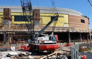 photo - Taxpayer-funded renovations continue at Chesapeake Energy Arena, but the NBA lockout could mean Oklahoma City has to miss a year of return on its investment. <strong>JIM BECKEL - The Oklahoman</strong>