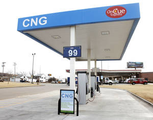 Photo - Compressed Natural Gas is shown Jan. 7 priced at less than a dollar at the OnCue Express at 1 NW 23rd St. in Oklahoma City. Photo By Paul Hellstern, The Oklahoman