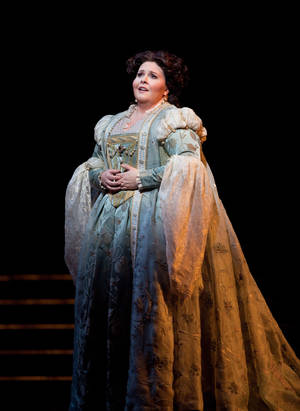 """Photo -   In this Jan. 30, 2012, photo provided by the Metropolitan Opera Angela Meade performs as Elvira in Verdi's """"Ernani"""" during a dress rehearsal at the Metropolitan Opera in New York. (AP Photo/Marty Sohl)"""