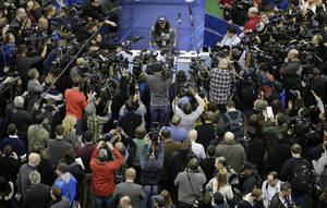 Photo - Seattle Seahawks' Richard Sherman answers a question during media day for the NFL Super Bowl XLVIII football game Tuesday, Jan. 28, 2014, in Newark, N.J. (AP Photo/Charlie Riedel)
