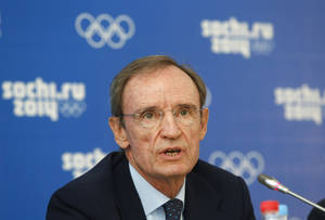 Photo - FILE - In this Sept. 26, 2013 file photo, Jean-Claude Killy, Chairman of the IOC Coordination Commission for Sochi 2014, speaks during a news conference in Sochi, Russia. Killy has resigned as a member of the International Olympic Committee. The three-time Olympic gold medalist submitted his resignation in a letter to IOC President Thomas Bach. (AP Photo/Sergei Grits, File)