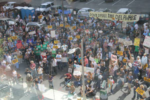 photo - Protesters rally Thursday outside the Pennsylvania Convention Center, where the Marcellus Shale Coalition was holding its Shale Gas Insight 2012 conference. PHOTO BY ADAM WILMOTH, THE OKLAHOMAN