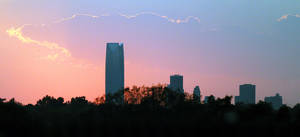 Photo - The Devon Tower and the Oklahoma City skyline at sunset viewed from Midwest City, Okla., Friday, Aug. 31, 2012. Photo by Nate Billings, The Oklahoman