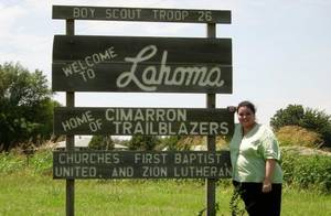 Photo - In this provided photo, Lahoma McMillion visits the town of Lahoma in 2008.