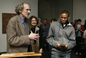 "Photo - University of Oklahoma professor Ed O'Rear presents the Museum Association Award to Elliott Robbins for his work ""Pantokrator."""