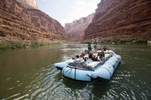 Photo - This August, 2013 photo provided by Google shows a frame from a moving time-lapse sequence of images of rafters on the Colorado River in Grand Canyon National Park., Ariz. Google has taken its all-seeing eyes on a trip that few ever get to experience - a moving tour of the river through the Grand Canyon courtesy of a Google time-lapse camera making sequential images. The search giant partnered with American Rivers to showcase the whitewater rapids, a handful of hiking trails, the towering red canyon walls and the stress placed on the river by drought and humans. The imagery taken last August went live Thursday, March 13, 2014. (AP Photo/Google)