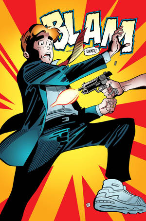 "Photo - This photo provided by Archie Comics shows Archie in his final moments of life in a scene from the comic book, ""Life with Archie,"" issue 36. Archie Andrews will die taking a bullet for his gay best friend. The famous freckle-faced comic book icon will die in the July 16, 2014 installment of ""Life with Archie"" while intervening in the assassination of Kevin Keller, Archie Comics' first openly gay character. (AP Photo/Archie Comics)"