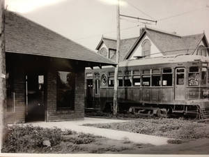 Photo - A trolley car is stopped at the interurban station in Edmond, in this undated photo from the University of Central Oklahoma archives. PHOTO PROVIDED BY BARRY RICE