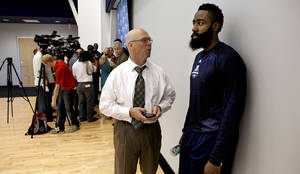 photo - James Harden waits his turn behind Kevin Durant to speak with the media following practice at the Oklahoma City Thunder practice facility on Friday, April 27, 2012, in Oklahoma City, Okla.  Photo by Steve Sisney, The Oklahoman