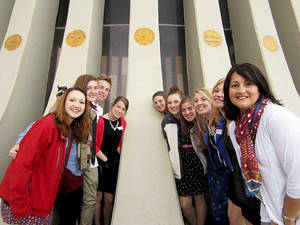 photo - Exchange students from Bethany High School at Yad Kennedy, a memorial to John F. Kennedy near Jerusalem. The students trip was cut two days short because of a recent increase of violence between the Israelis and Hamas.  Photos provided