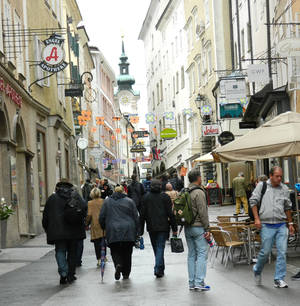 Photo -  Salzburg, Austria, has many pedestrian-friendly streets on which to walk and explore. Photo courtesy of John Blanchette.