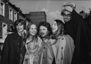 "Photo -   FILE - In an Oct. 6, 1967 file photo Scott McKenzie, center, poses with ""The Mamas And The Papas"" in London. From left to right are Denny Doherty, Michele Gillian, Scott McKenzie, Cass Elliott and John Phillips. (AP Photo/Worth)"