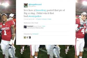 Photo - Oklahoma safety Tony Jefferson took offense to Oklahoma State quarterback Brandon Weeden's photo.