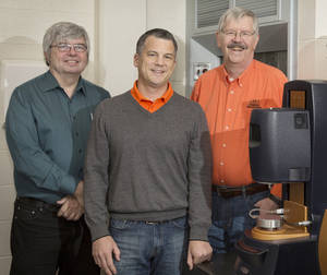 Photo - Gary Foutch, Jim Smay and AJ Johannes, from left, of the Oklahoma State University chemical engineering department, are working to solve one of the world's toughest and most persistent global health problems. <strong>PROVIDED</strong>