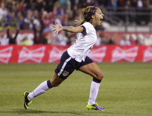 Photo - United States' Sydney Leroux celebrates her goal against New Zealand during the first half of an international friendly soccer match Wednesday, Oct. 30, 2013, in Columbus, Ohio. (AP Photo/Jay LaPrete)