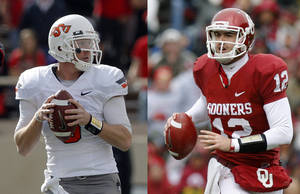 Photo - OSU quarterback Brandon Weeden and OU quarterback Landry Jones. PHOTOS BY THE OKLAHOMAN