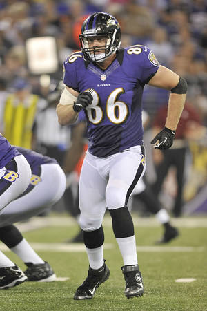 photo - Billy Bajema joined the Ravens in training camp, and now will play with them in the Super Bowl. AP photo