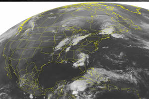 photo -   This NOAA satellite image taken Tuesday, May 29, 2012 at 07:45 AM EDT shows clouds over Florida and Georgia associated with Tropical Depression Beryl as it will slowly move northeastward and into the Atlantic Ocean the next few days. Areas of heavy rain and thunderstorms can continue to be expected. (AP Photo/Weather Underground)