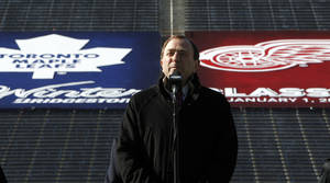 Photo -   FILE - In this Feb. 9, 2012 file photo, National Hockey League commissioner Gary Bettman announces the NHL Winter Classic hockey game at Michigan Stadium in Ann Arbor, Mich. The NHL has canceled the 2013 Winter Classic at Michigan Stadium. The signature event between the Detroit Red Wings and Toronto Maple Leafs, is the latest casualty from the labor dispute that has put the season on hold, a person familiar with the situation told The Associated Press on Friday, Nov. 2, 2012. (AP Photo/Paul Sancya, File)