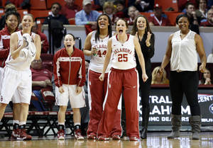 Photo - Oklahoma Sooners' Whitney Hand (25) and teammates cheer as the University of Oklahoma Sooners (OU) play the Kansas Jayhawks in NCAA, women's college basketball at The Lloyd Noble Center on Saturday, March 2, 2013  in Norman, Okla. Photo by Steve Sisney, The Oklahoman