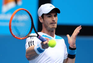 Photo - Andy Murray of Britain makes a forehand return to Feliciano Lopez of Spain during their third round match at the Australian Open tennis championship in Melbourne, Australia, Saturday, Jan. 18, 2014.(AP Photo/Rick Rycroft)
