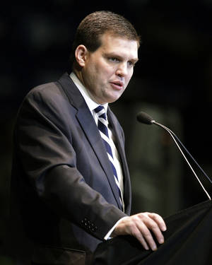Photo - FILE - In this Jan. 26, 2012 file photo, Jay Paterno, son of former Penn State football coach Joe Paterno, speaks during a memorial service for Joe Paterno at Penn State's Bryce Jordan Center in State College, Pa. Paterno told party officials Thursday Feb. 20, 2014 that he will seek the Democratic nomination for lieutenant governor in Pennsylvania.  (AP Photo/Gene J. Puskar)