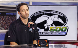 Photo -  Jimmie Johnson returned to the track still mourning the loss of his brother-in-law in a skydiving accident. Jordan Janway, a Muskogee native, died in a skydiving accident. AP photo  <strong>Mike Stone -  AP </strong>