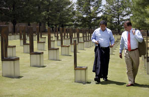 Photo - Lt. Gov. John A. Sanchez, of New Mexico, and Oklahoma Lt. Gov. Todd Lamb tour the Oklahoma City National Memorial & Museum on Thursday in Oklahoma City. Photo by Sarah Phipps, The Oklahoman <strong>SARAH PHIPPS</strong>