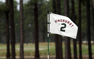 Photo - ADVANCE FOR WEEKEND EDITIONS, JUNE 7-8 - FILE - In this April 14, 2014, file photo, a flag on the 10th green blows in the wind at Pinehurst Resort & Country Club's Course No. 2 in Pinehurst, N.C. The course is considered the masterpiece of Donald Ross, who completed Pinehurst No. 2 in 1907 and continued to refine it until his death in 1948. It has hosted the U.S. Open in 1999 and 2005. (AP Photo/Gerry Broome)