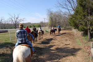 photo - Horseback Riders begin their trail ride at Sequoyah State Park. PHOTO PROVIDED.  <strong></strong>
