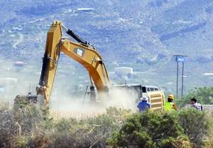 "Photo - Crews begin digging at the old Alamogordo, N.M., landfill on Friday April 25, 2014, to search for copies of the Atari game ""E.T. The Extraterrestrial"" purportedly buried there in the 1980s.  The game is considered among gamers to be one of the worst ever and is believed to have contributed to the demise of Atari. (AP Photo/Alamogordo Daily News, John Bear)"
