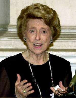 Photo - FILE - In this September 30, 2000 file photo, U.S. ambassador to the Holy See Lindy Boggs speaks during a news conference in Rome. Boggs, of Louisiana, who fought for civil rights during nearly 18 years in Congress after succeeding her late husband in the House, died Saturday, July 27, 2013. She was 97.  (AP Photo/Massimo Sambucetti, File)