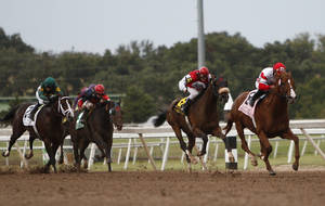 Photo - Pleasant Prince and jockey Joel Rosario lead on the way to the win in the Oklahoma Derby horse race at Remington Park in Oklahoma City on Sunday, Oct. 10, 2010.  (AP Photo/Alonzo Adams) ORG XMIT: OKAA105