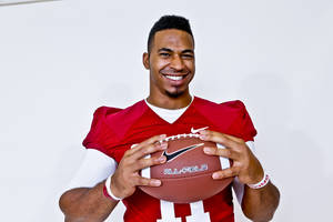 Photo - **FOR FOOTBALL TAB ONLY** R.J. Washington poses for a photo during media day at the University of Oklahoma on Saturday, Aug. 4, 2012, in Norman, Okla.  Photo by Chris Landsberger, The Oklahoman    OU COLLEGE FOOTBALL