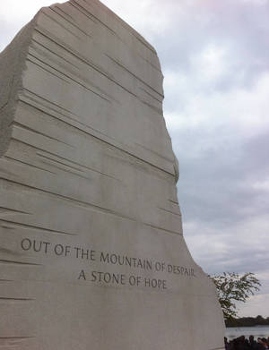 "Photo - Visitors can see two sayings on each side of the ""Stone of Hope"" that has Martin Luther King Jr.'s likeness carved out of it. PHOTO BY JOE HIGHT, THE OKLAHOMAN <strong></strong>"