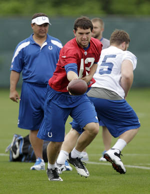 Photo -   Indianapolis Colts quarterback Andrew Luck drops back after taking a snap from center Jake Kirkpatrick, right, as quarterback coach Clyde Christensen watches during the NFL team's football rookie minicamp in Indianapolis, Friday, May 4, 2012. (AP Photo/Michael Conroy)