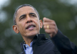 photo -   President Barack Obama speaks during a campaign event at Sloan&#039;s Lake Park, Thursday, Oct. 4, 2012, in Denver. (AP Photo/Pablo Martinez Monsivais)  