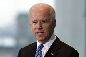 photo - United States' Vice President Joe Biden speaks to media prior to a meeting with German Chancellor Angela Merkel, unseen, at the chancellery in Berlin, Germany, Friday, Feb. 1, 2013. (AP Photo/Markus Schreiber)