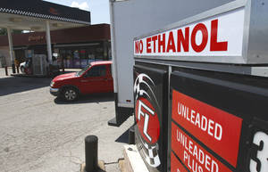 Photo - Ethanol free gasoline is advertised at this gasoline station at 15th St. and Boulevard in Edmond, OK, Friday, August 23, 2013,  Photo by Paul Hellstern, The Oklahoman