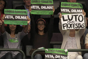 "Photo -   Environmentalists hold up protest signs that read in Portuguese ""Veto Dilma"" and ""Mourning for the Forest"" during a session by Chamber of Deputies who are expected to vote on a new forest law in Brasilia, Brazil, Wednesday, April 25, 2012. Environmentalists say that any changes made to Brazil's benchmark environmental laws will damage the Amazon and other areas. (AP Photo/Eraldo Peres)"