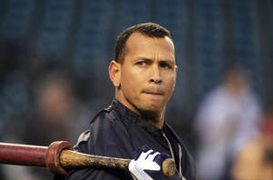 "photo - FILE - In this Wednesday, Oct. 17, 2012 file photo, New York Yankees' Alex Rodriguez takes batting practice before Game 4 of the American League championship series against the Detroit Tigers, in Detroit. Major League Baseball says it is ""extremely disappointed"" about a new report that says records from an anti-aging clinic in the Miami area link Rodriguez and other players to the purchase of performance-enhancing drugs. (AP Photo/Carlos Osorio, File)"